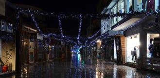 Noche lluviosa en Ohrid, Macedonia Imagen de archivo