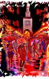 Noche lluviosa impresionista debajo de los paraguas libre illustration
