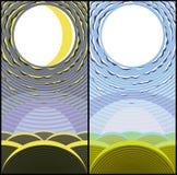 Noche lunar y día asoleado. Fotografía de archivo