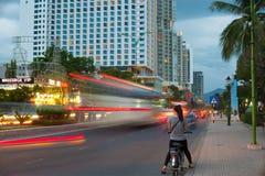 Noche Nhatrang, Vietnam Imagen de archivo libre de regalías