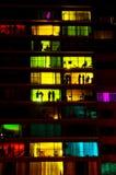Noche ocupada hacia fuera en el balcón Fotografía de archivo