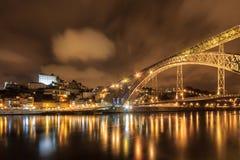 Noche panorámica de Oporto Imagenes de archivo
