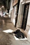 Noche parisiense, mendigo Fotos de archivo