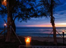 Noche por la playa Fotografía de archivo libre de regalías