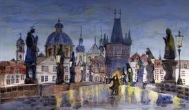 Noche Praga ilustración del vector