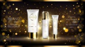 Noche que revitaliza intensivo serie cosmética stock de ilustración