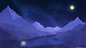 Noche reservada en las montañas Fotos de archivo