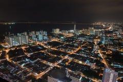 Noche Scape de Georgetown Penang fotos de archivo