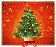Noche silenciosa con el árbol de navidad libre illustration