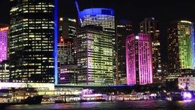 Noche Timelapse de Sydney City Building Skyline Landscape que establece el tiro almacen de metraje de vídeo