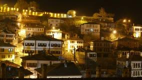 Noche Timelapse, pueblo de Anatolia del otomano tradicional, Safranbolu, Turquía almacen de video