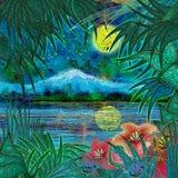 Noche tropical, paisaje Imágenes de archivo libres de regalías