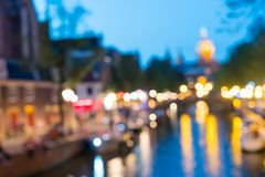 Noche urbana de Amsterdam y fondos abstractos del viaje Fotos de archivo libres de regalías
