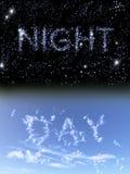 Noche y día Imagenes de archivo
