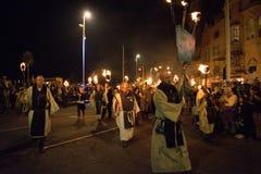 Noche y desfile de la hoguera de Hastings 15 de octubre de 2017 Fotos de archivo libres de regalías