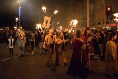 Noche y desfile de la hoguera de Hastings 15 de octubre de 2017 Fotos de archivo