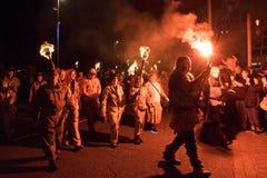 Noche y desfile de la hoguera de Hastings 14 de octubre de 2017 Imágenes de archivo libres de regalías