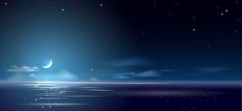 Noche y mes del fondo sobre el mar y ilustración del vector