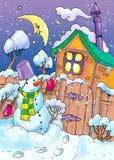 noche y muñeco de nieve del invierno. Fotos de archivo