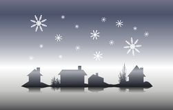 Nochebuena de la silueta de la casa del invierno Fotografía de archivo libre de regalías