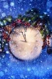 Nochebuena del arte y Años Nuevos en la medianoche Foto de archivo libre de regalías