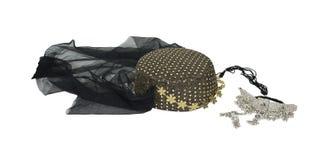 Noches árabes headwear y collar Imágenes de archivo libres de regalías