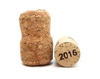 Nochevieja/Champán y Año Nuevo 2016 de los corchos del vino Fotos de archivo libres de regalías