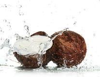 Noci di cocco incrinate con la spruzzatura dell'acqua immagini stock