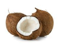Noci di cocco isolate su bianco Immagine Stock