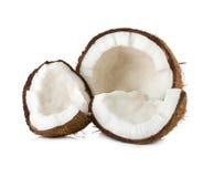 Noci di cocco isolate su bianco Immagini Stock