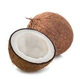 Noci di cocco isolate su bianco Fotografia Stock Libera da Diritti