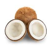 Noci di cocco isolate su bianco Fotografie Stock Libere da Diritti