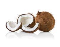 Noci di cocco su bianco Immagine Stock Libera da Diritti