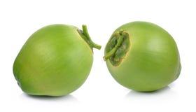 Noci di cocco verdi su fondo bianco Fotografia Stock Libera da Diritti