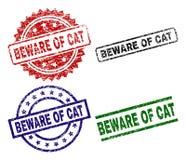 Nocivo strutturato GUARDI DA di CAT Seal Stamps royalty illustrazione gratis