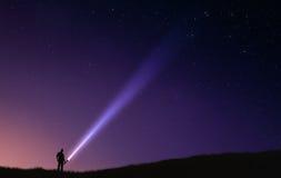 Nocne niebo błysku światło Obrazy Royalty Free