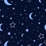 Nocne niebo bezszwowy wzór Zdjęcia Stock