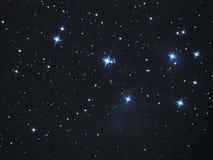 Nocne niebo gra główna rolę Pleiades mgławicę w taurus gwiazdozbiorze (M45) zdjęcie stock