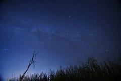 Nocne niebo gra główna rolę z milky sposobem na halnym tle Obraz Stock