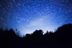 Nocne niebo, gwiazda ślada i las, Obraz Royalty Free