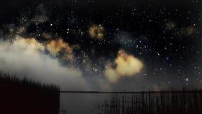 Nocne niebo nad jeziorem zbiory