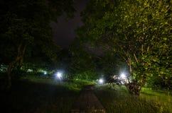 Nocne niebo nad wiejskim krajobrazem Pięknej nocy gwiaździsty niebo, Azerbejdżan Obrazy Stock