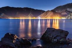 Nocne niebo pod Adrasan zatoką Adrasan wioski lokacja, okręg Kemer, Antalya prowincja, Turcja Zdjęcia Stock