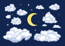 Nocne niebo set Chmury różni kształty i księżyc royalty ilustracja