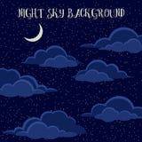 Nocne niebo z chmurami Fotografia Stock