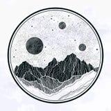 Nocne niebo z g?rami kszta?tuje teren, planetuje, ksi??yc, natura elementy Odosobniona rocznika wektoru ilustracja zaproszenie ilustracja wektor
