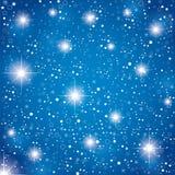 Nocne niebo z gwiazdami na błękitnym abstrakcjonistycznym tle Bożenarodzeniowy błękitnych gwiazd tło ilustracji