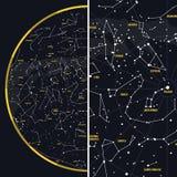 Nocne Niebo z gwiazdozbiorami ilustracji