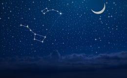 Nocne niebo z gwiazdozbiorem Ursa Ważny i Ursa nieletni Obrazy Stock