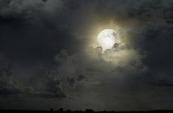 Nocne niebo z księżyc Zdjęcie Royalty Free